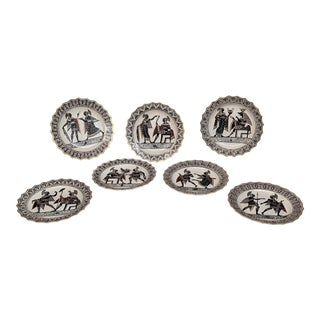 1810s Antique Giustiniani Naples Etruscan Style Cabinet Plates - Set of 7 For Sale