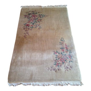 White Silk & Wool Chinese Rug - 5′ × 8′3″ For Sale