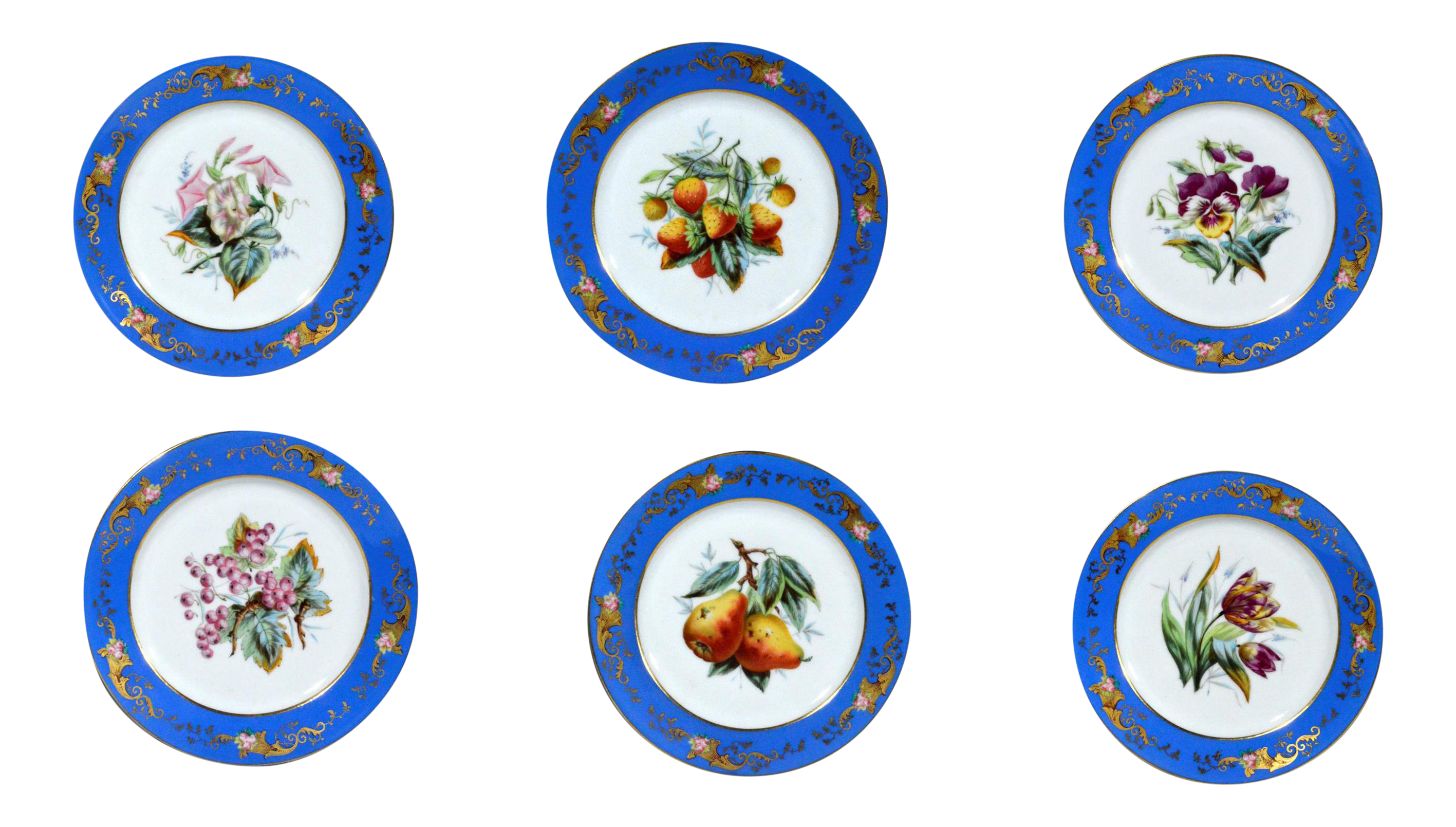 Paris Porcelain Botanical u0026 Fruit-decorated Set of Six Plates  sc 1 st  Decaso & Antique u0026 Designer Blue Dinnerware | DECASO