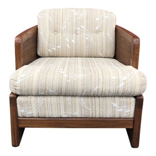1970s Vintage Cane Lounge Chair & Ottoman For Sale