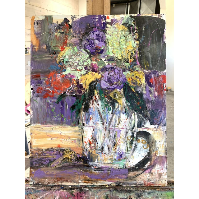 """""""Purple Perfection"""" a Modern Floral by Jj Justice For Sale - Image 10 of 10"""