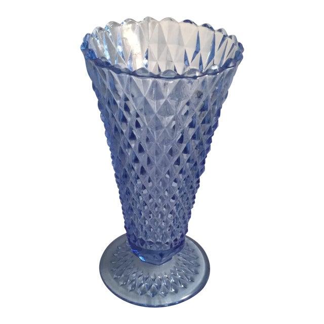 Diamond Cut Blue Vase For Sale