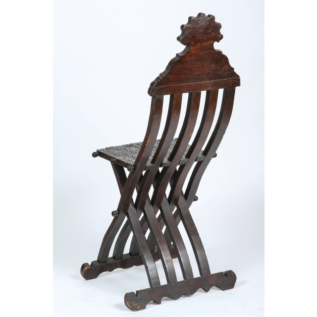19th Century Antique Syrian Wood Inlaid Folding Chair For Sale - Image 4 of 9