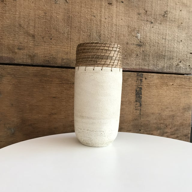 Hand Thrown White Ceramic Vase For Sale - Image 10 of 12