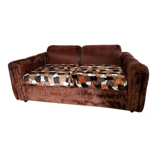 1970s Vintage Brown Fur/Orange Patchwork Pattern Loveseat