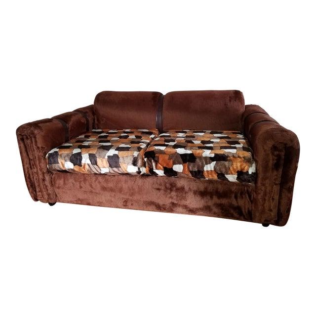 1970s Vintage Brown Fur/Orange Patchwork Pattern Loveseat For Sale