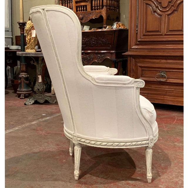 19th Century Louis XVI Carved Painted Bergere Armchair For Sale - Image 10 of 13