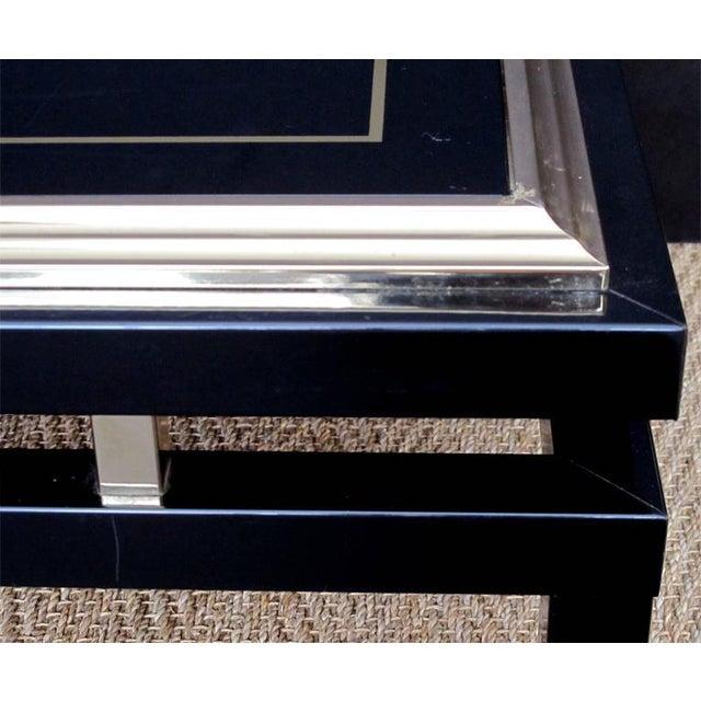 Guy Lefevre Stylish French Black Enameled Metal Rectangular Coffee Table by Guy Lefevre For Sale - Image 4 of 4