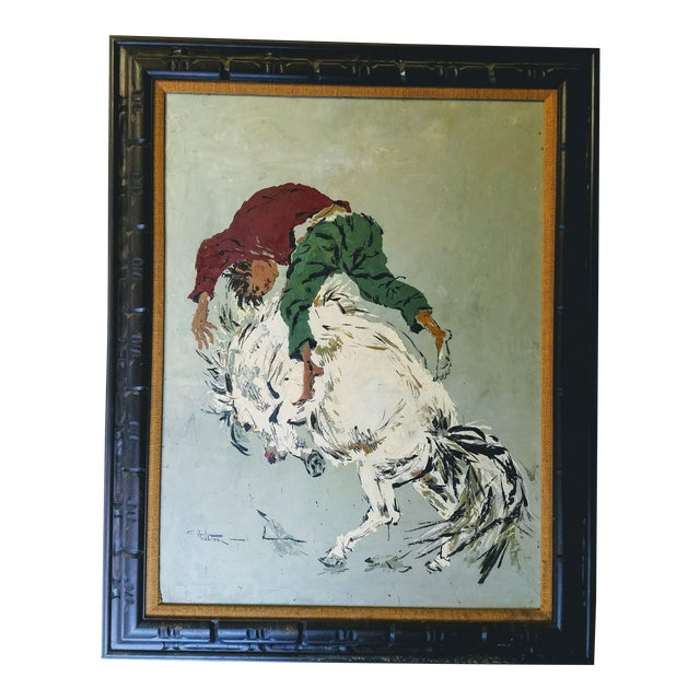 "Large Oil Painting ""Wild Horse Ride"" by Wilton For Sale"