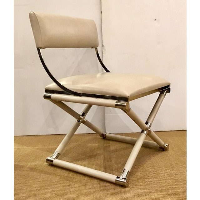 Caracole Mid-Century Modern Style Cream Leather and Nickel Accent Chair For Sale In Atlanta - Image 6 of 6
