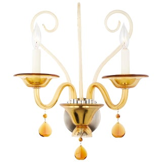 Vintage Murano Amber Glass Wall Sconce For Sale