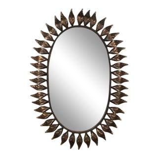 Oval Copper Sunburst Mirror For Sale