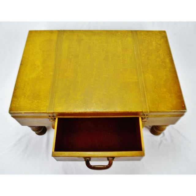 Mid 20th Century Vintage Faux Leather Suitcase Trunk Coffee Table For Sale - Image 5 of 13