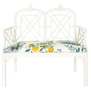 White Chinoiserie Pagoda Motif Newly Upholstered Settee