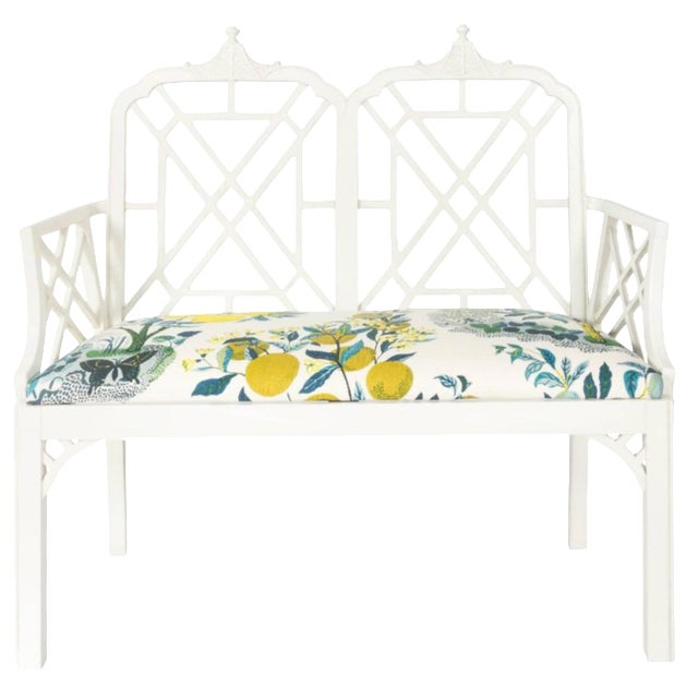 White Chinoiserie Pagoda Motif Newly Upholstered Settee For Sale