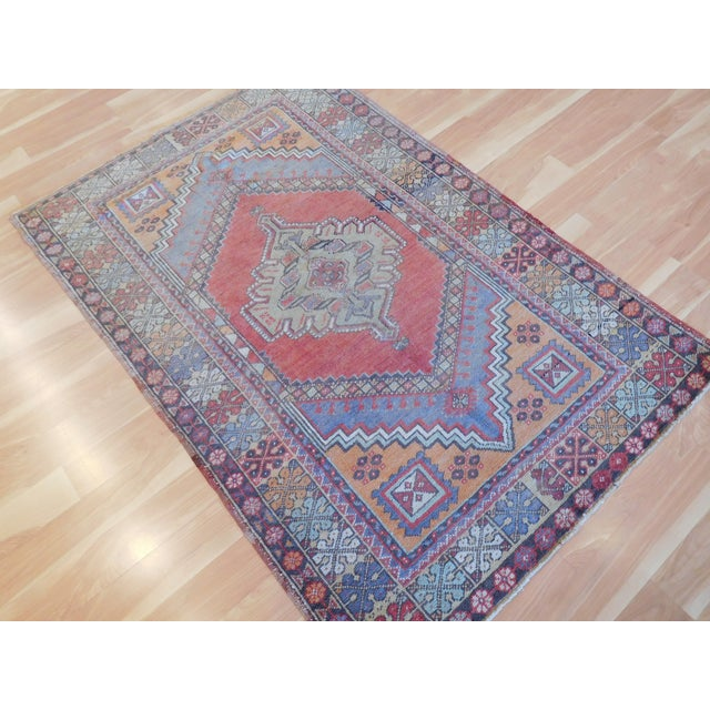 "Vintage Turkish Oushak Rug - 3'9"" X 5'6"" - Image 4 of 5"