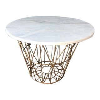 Modern Style Geometric Metal Base Side Table For Sale
