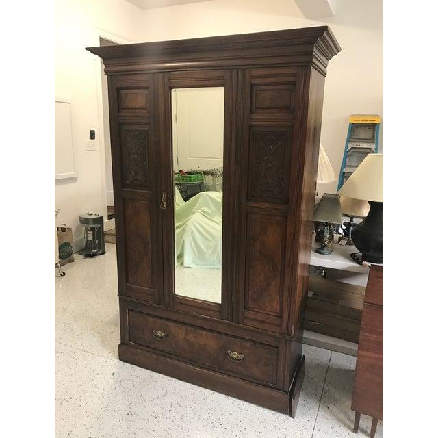 Antique Mirrored Door Armoire - Image 2 of 7