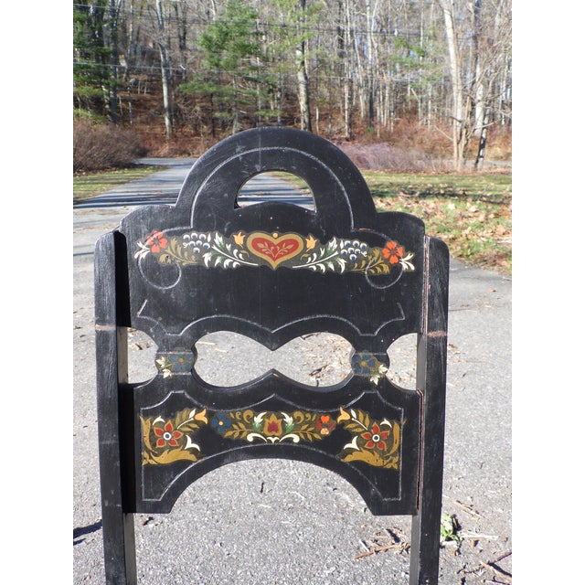Vintage Set of 4 Art Deco Black Painted Amish Folk Art Style Dining Chairs For Sale - Image 9 of 12