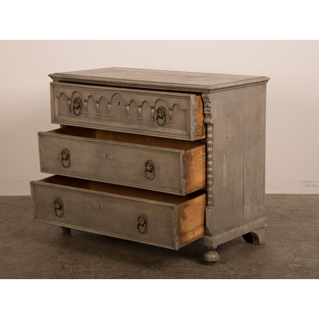 Antique English Tall Painted Three Drawer Chest circa 1850 - Image 7 of 11