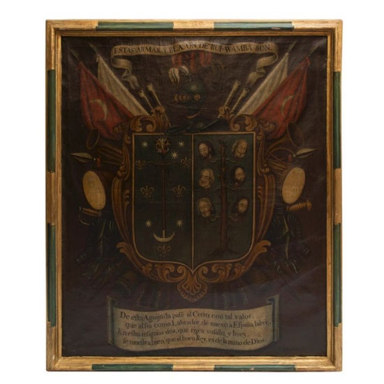 19th Century Antique Coat of Arms Framed Oil Painting For Sale - Image 11 of 11