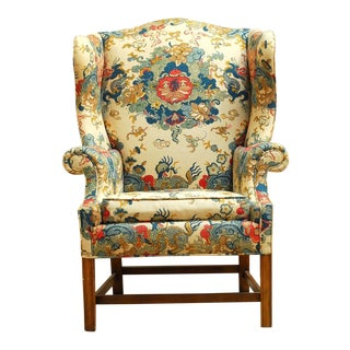 Mid-Century Baker English Chinoiserie Style Wingback Chair For Sale