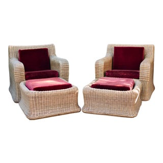 1970s Vintage Sculptural Wicker Armchairs & Ottomans- 4 Pieces For Sale
