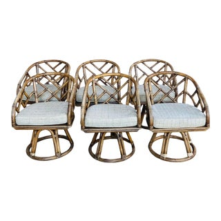 1980s Vintage Chinese Chippendale Rattan Swivel Dining Chairs - Set of 6 For Sale
