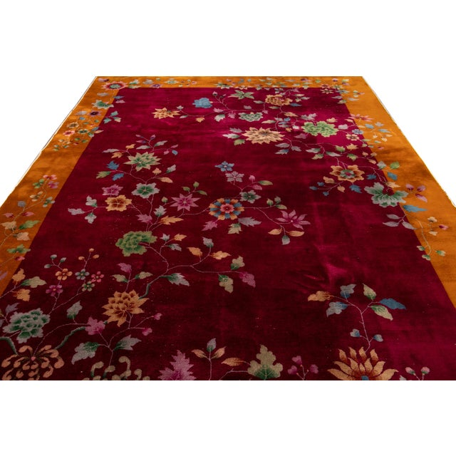Early 20th Century Antique Art Deco Chinese Wool Rug 9 X 11 For Sale In New York - Image 6 of 13