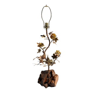 """""""Enchanting Forest"""" Brass and Burl Wood Lamp For Sale"""