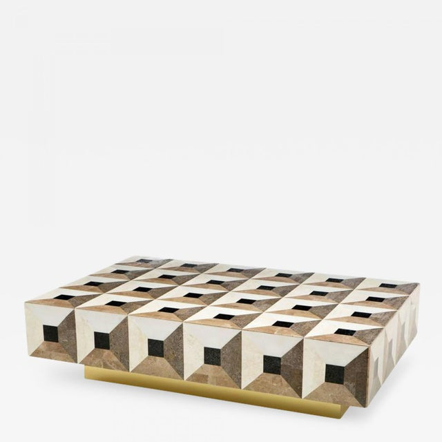 Custom Geometric Design Marble and Brass Coffee Table For Sale - Image 4 of 5