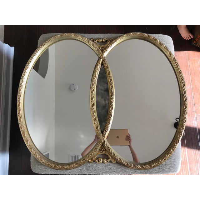 1970s Hollywood Regency Double Interlocking Gilt Mirror For Sale In Charlotte - Image 6 of 6
