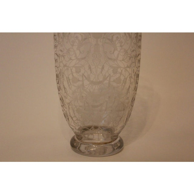 French French Filigree-Etched Oval Glass Vase For Sale - Image 3 of 5