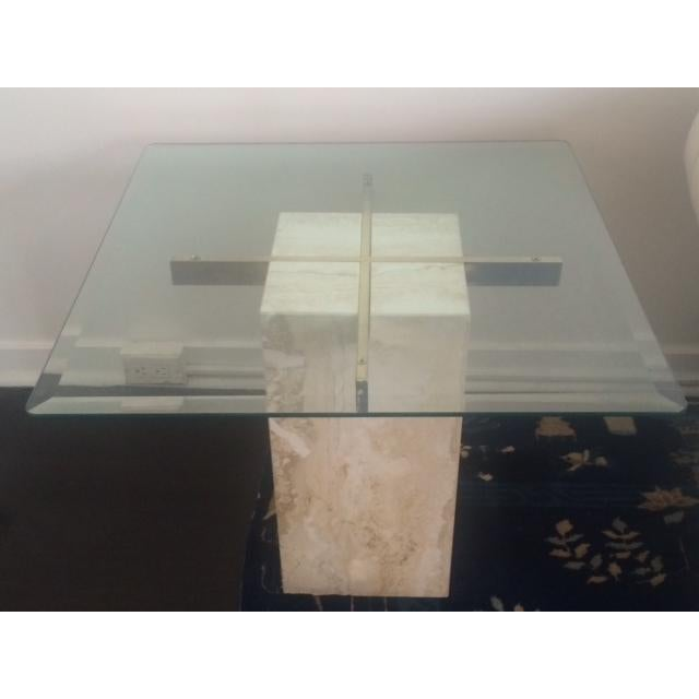 Brass & Glass Travertine End Table - Image 2 of 7