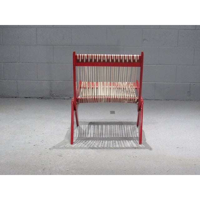 1950's Mid Century Modern Red Painted Wood and Rope Scissor Chair For Sale - Image 4 of 10