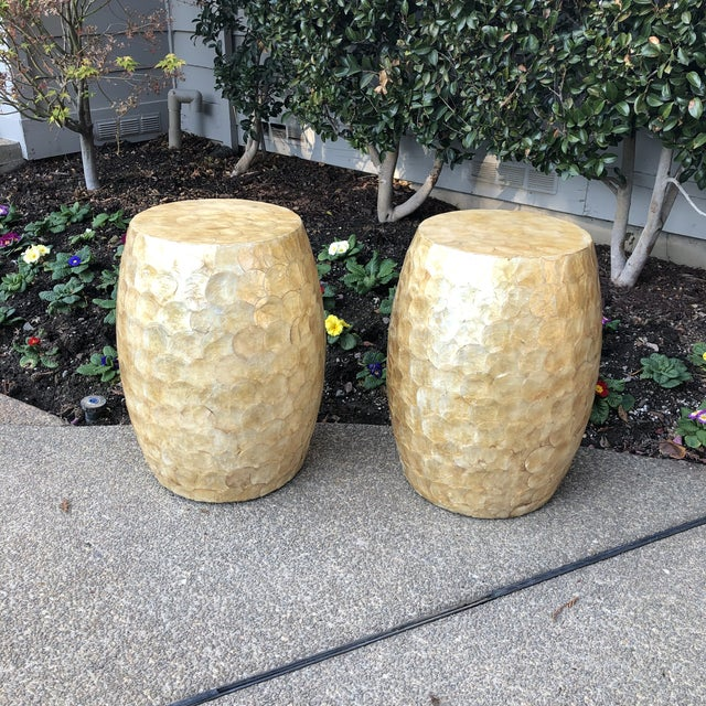 Late 20th Century Vintage Capiz Shell Garden Stools- A Pair For Sale - Image 10 of 12