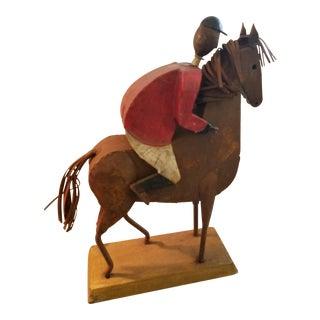 Vintage Folk Art Metal Horse and Jockey