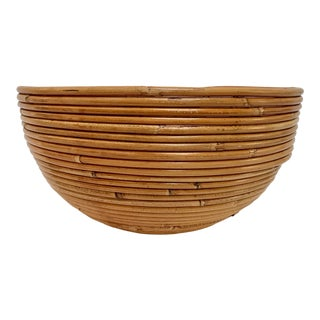1980s Vintage Italian Crespi Style Pencil Reed Rattan Bowl Planter For Sale