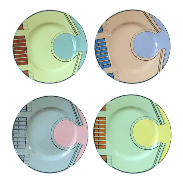 1980s Pastel Modern Chargers - Set of 5 For Sale