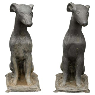 Pair of American 1930s Lead Greyhound Dogs Sitting on Cushions