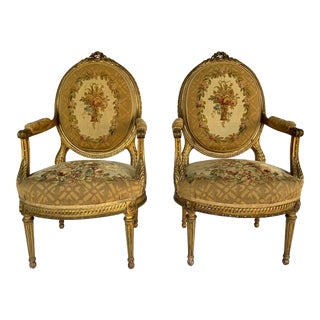 1880s Vintage French Arm Chairs - a Pair For Sale