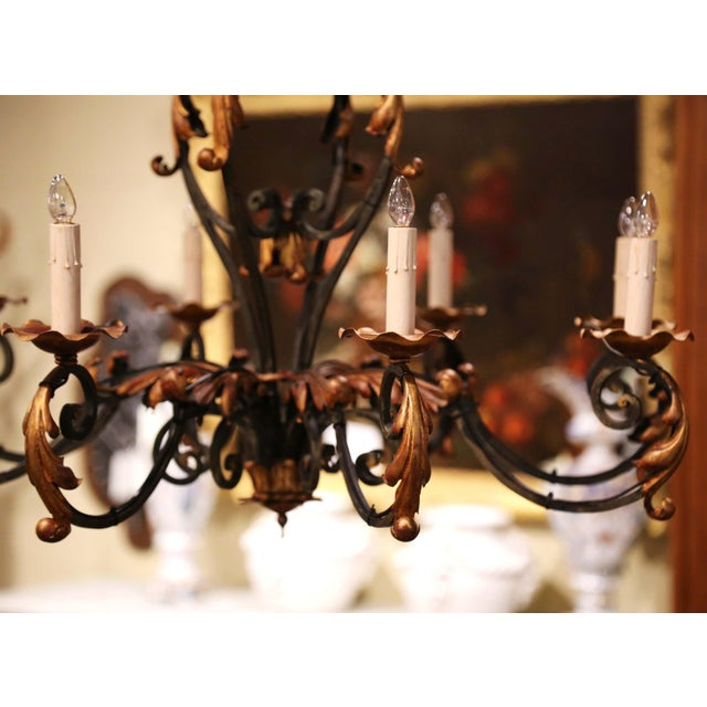 Early 20th Century French Louis XV Painted & Gilt Six-Light Iron Chandelier For Sale - Image 9 of 12