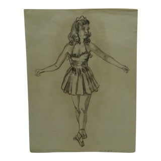 "1950s Figurative Original Drawing/Sketch on Paper ""Ballerina"" by Tom Sturges Jr. For Sale"