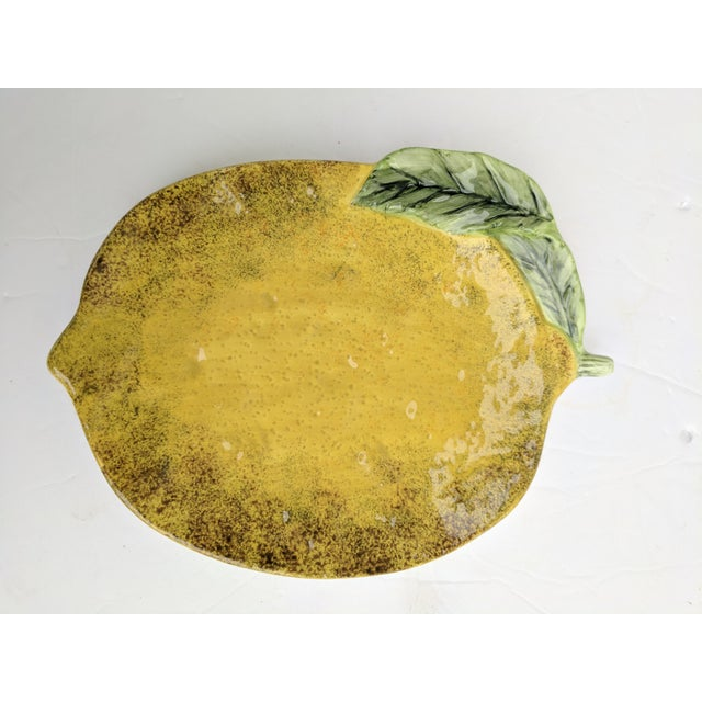 1990s Glazed Ceramic Lemon Decorative Plate For Sale - Image 5 of 8