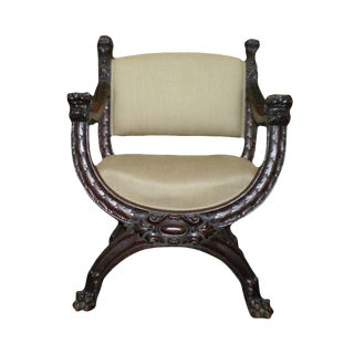 19th Century Antique Italian Carved Walnut Renaissance Style Chair For Sale