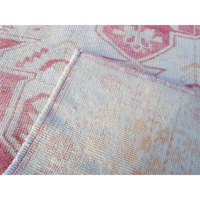 """Distressed Red and Yellow Turkish Rug 4'1"""" X 8'6"""" For Sale - Image 11 of 12"""