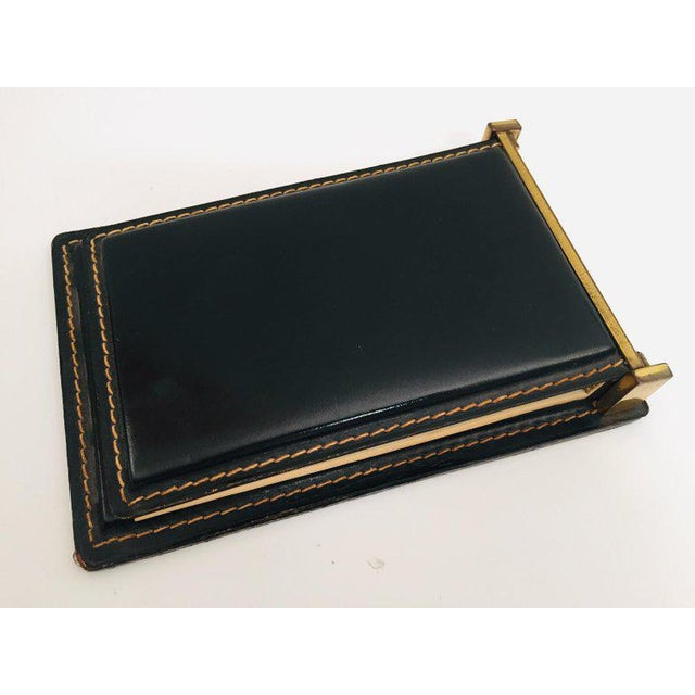 Vintage Desk Set, Black Leather and Brass Letter Rack, Picture Frame and Notepad For Sale In Los Angeles - Image 6 of 13
