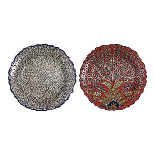 Decorative Handmade Turkish Wall Plates - A Pair For Sale