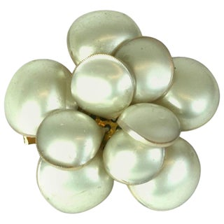 Classic Chanel Pearl Camellia Brooch, Maison Gripoix For Sale