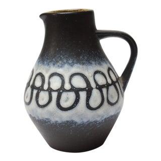 Mid Century West German Lava Glaze Ceramic Pitcher For Sale